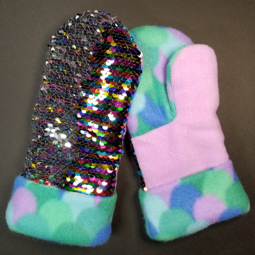 Child Medium Sequin Bling Rainbow to Silver - Teal Mermaid Scales and Purple Fleece