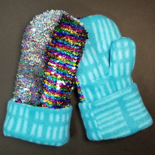 Child Small Sequin Bling Iridescent Rainbow to Iridescent Silver - Teal Stripes Fleece