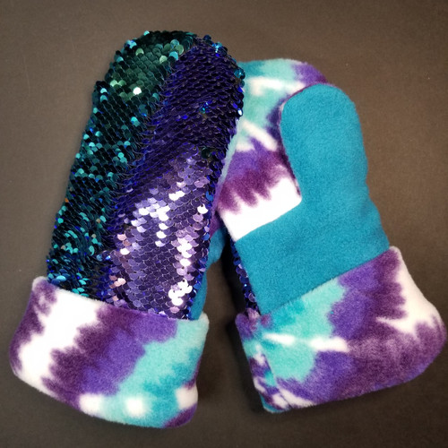 Child Small Sequin Bling Purple to Teal - Tie Dye Purple / Teal Fleece