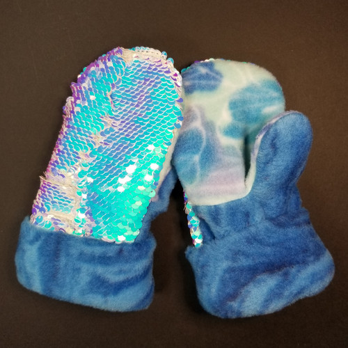 Child Xtra Small Sequin Bling Unicorn - Blue Shades and Teal Fleece