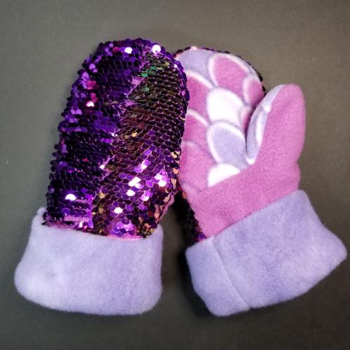 Child Xtra Small Sequin Bling Light Purple to Dark Purple - Purple and Mermaid Fleece