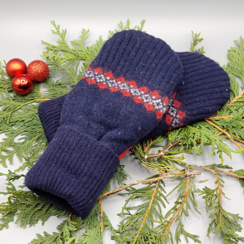 Recycled Wool Sweater Mittens, Felted & Fleece Lined, Navy with Red and White Pattern and Ribbed Cuff, Women's Regular Size