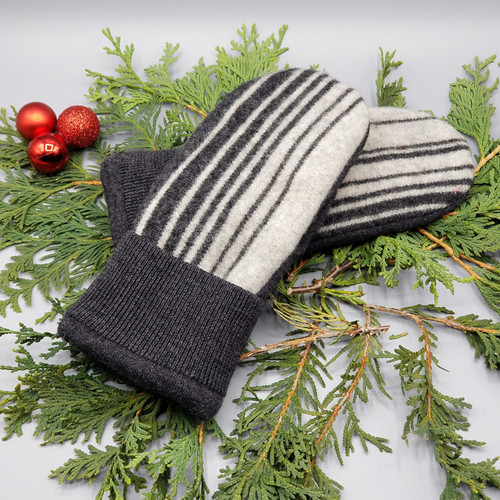 Recycled Wool Sweater Mittens, Felted & Fleece Lined, Charcoal and Heather Grey Vertical Stripes with Tight Ribbed Cuff, Women's Regular Size