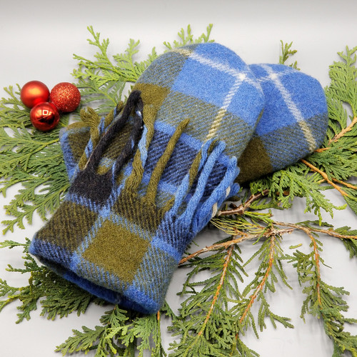 Recycled Wool Sweater Mittens, Felted & Fleece Lined, Blue and Olive and Navy Wool Blanket with Blanket Fringe Cuff, Women's Regular Size