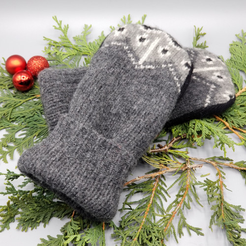 Recycled Wool Sweater Mittens, Felted & Fleece Lined, Medium Grey with Heather Grey Design and Wide Ribbed Cuff, Women's Regular Size