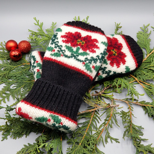 Recycled Wool Sweater Mittens, Felted & Fleece Lined, Vintage Christmas Poinsettia on Black with Holly and Ribbed Cuff, Women's Regular Size