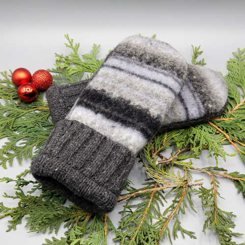 Recycled Wool Sweater Mittens, Felted & Fleece Lined, Shades of Grey Horizontal Stripes with Wide Ribbed Charcoal Grey Cuff, Women's Regular Size