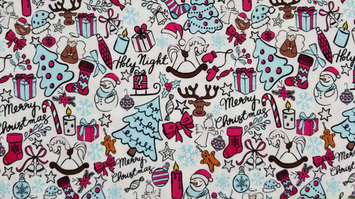 Christmas Collage Winter Ruby and Blue on White Background