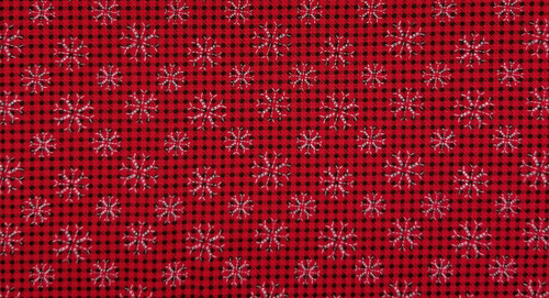 Tiny Red / Black Plaid with White Snowflakes