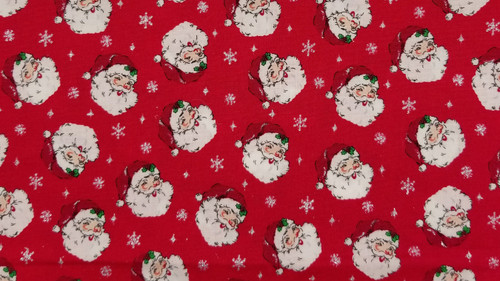 Santa on Red with Glitter Snowflakes