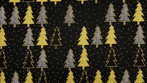 Gold Christmas Tree on Black with White Dots
