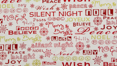 Holiday Sayings in Red and Gold on White Background