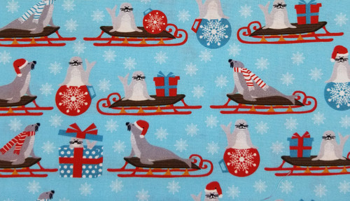 Seals on Sleds with Blue Background - White Snowflake