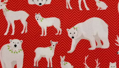 Winter Animals on Red Chevron