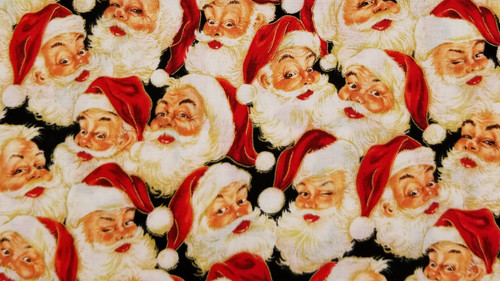 Santa, Santa, Santa on Black Background