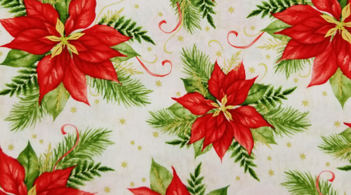 Poinsettia on White with Gold Accents