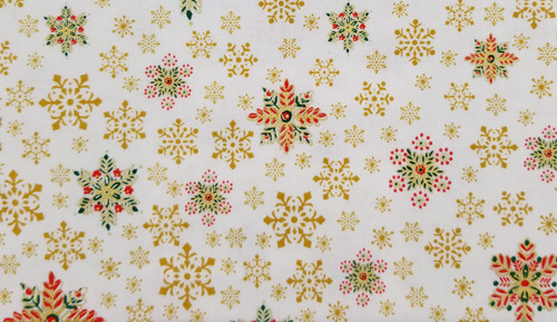 Gold, Red - Green Snowflakes on White Background