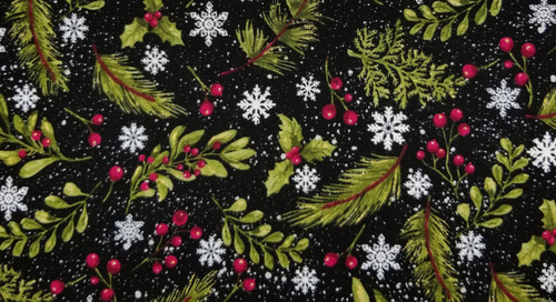 Winter Green and White Snowflakes with Red Berries and Sparkles
