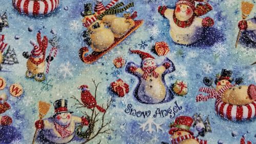 Glittery Snowmen in Winter Poses on Blue Background