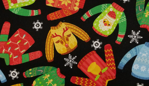Ugly / Cute Christmas Sweater - Pinks, Blue, Green, Red on Black Background