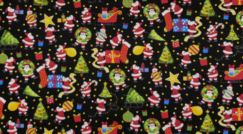 Small Christmas Santas on Black Background