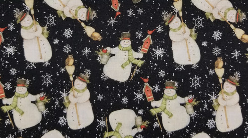 Snowmen on Black Background with White Snowflakes