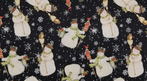 Snowmen on Black Background with White Snowflakes