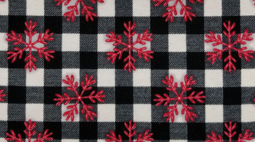 Red Snowflakes on White with Black Stripes