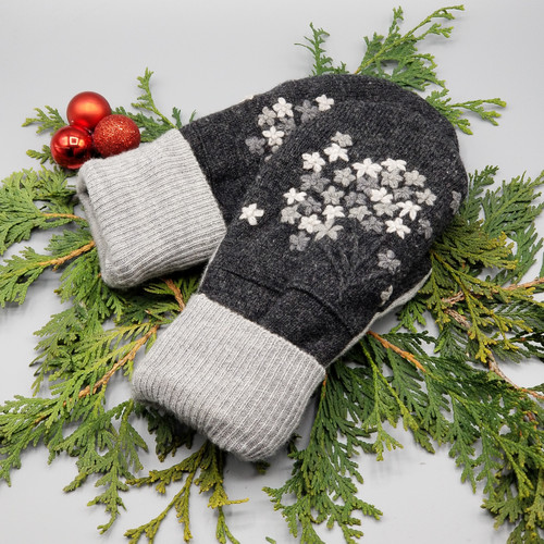 Recycled Wool Sweater Mittens, Felted & Fleece Lined, Talbots Charcoal Grey with Embroidered Grey Floral Bundle with Light Grey Ribbed Cuff, Women's Regular Size