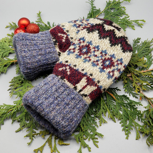 Recycled Wool Sweater Mittens, Felted & Fleece Lined, Vintage Patterned Blue / Maroon / Navy / Tan with Blue Ribbed Cuff, Women's Regular Size