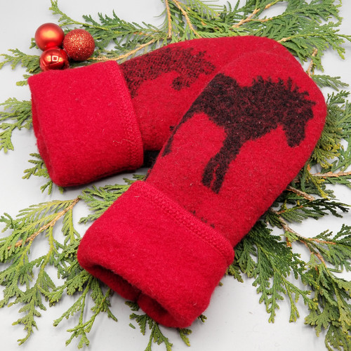 Recycled Wool Sweater Mittens, Felted & Fleece Lined, Vintage TallyHo Sweater Black Horses on Red Boiled Wool with Red Cuff, Women's Regular Size