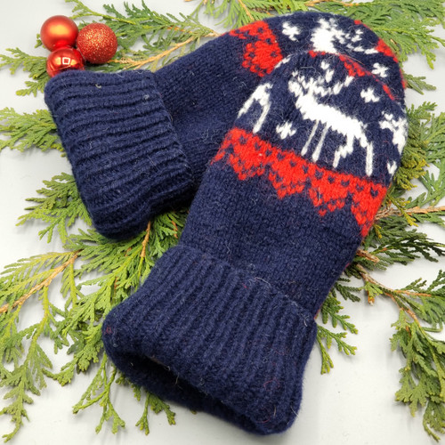 Recycled Wool Sweater Mittens, Felted & Fleece Lined, Vintage Sweater with Cream Reindeer on Navy with Red Accent, Women's Regular Size