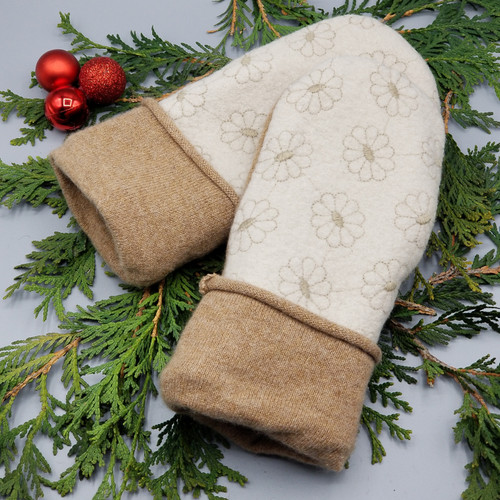 Recycled Wool Sweater Mittens, Felted & Fleece Lined, Cream Boiled Will with Stitched Tan Flowers with Cashmere Palm and Cuff, Women's Regular Size