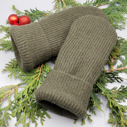 Recycled Wool Sweater Mittens, Felted & Fleece Lined, Olive Green Ribbed with Same Cuff, Women's Regular Size