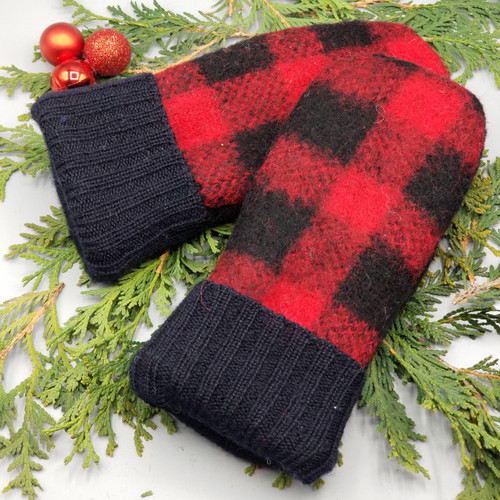 Recycled Wool Sweater Mittens, Felted & Fleece Lined, Christopher Hayes Black and Red Buffalo Plaid with Black Ribbed Cuff, Women's Regular Size