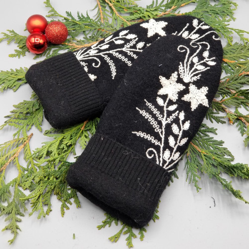 Recycled Wool Sweater Mittens, Felted & Fleece Lined, Black Boiled Wool with Cream Embroidered Stars and Leaves and Black Cuff, Women's Regular Size