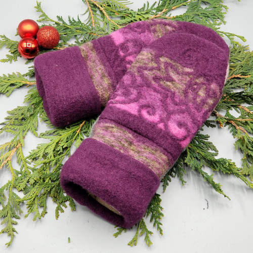 Recycled Wool Sweater Mittens, Felted & Fleece Lined, Purples / Pinks / Grey Scroll with Purple Cuff, Women's Regular Size