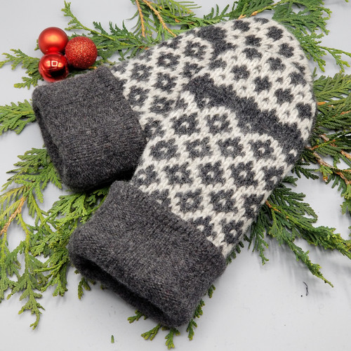 Recycled Wool Sweater Mittens, Felted & Fleece Lined, Dark Grey with Light Grey Diamond Pattern with Dark Grey Cuff, Women's Regular Size