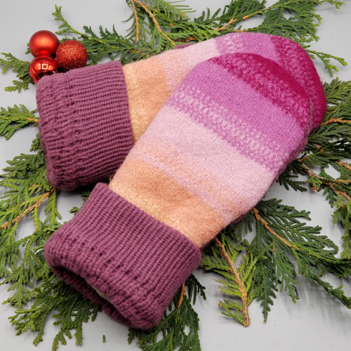 Recycled Wool Sweater Mittens, Felted & Fleece Lined, Variegated Purple to Peach with Purple Cuff, Women's Regular Size
