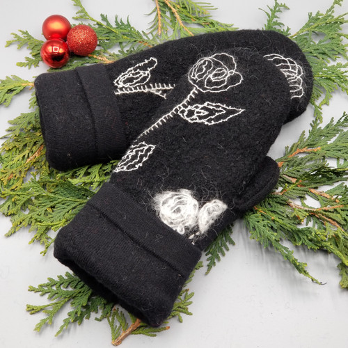 Recycled Wool Sweater Mittens, Felted & Fleece Lined, Black Boiled Wool with Cream  Embroidered Flowers with Black Cuff, Women's Regular Size