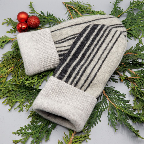Recycled Wool Sweater Mittens, Felted & Fleece Lined, Vertical Light Grey and Charcoal Grey with Light Grey Ribbed Cuff, Women's Regular Size