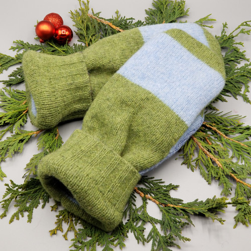 Recycled Wool Sweater Mittens, Felted & Fleece Lined, Dark Olive Green with Light Blue Strips and Dark Olive Green Cuff, Large Size