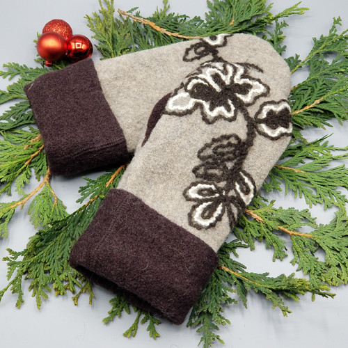 Recycled Wool Sweater Mittens, Felted & Fleece Lined, Tan Boiled Wool with Embroidered Brown and Cream Leaves with Boiled Wool Brown Cuff, Extra Small Size