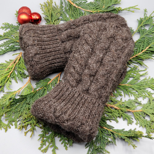 Recycled Wool Sweater Mittens, Felted & Fleece Lined, Cable Knit Chocolate Brown with Chocolate Brown Cuff, Extra Small Size