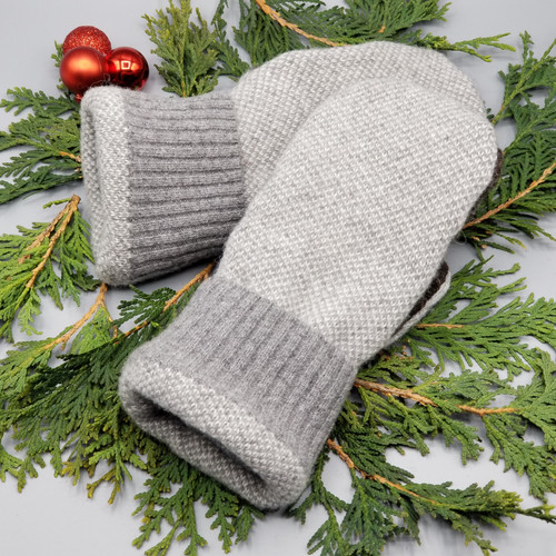 Recycled Wool Sweater Mittens, Felted & Fleece Lined, Small Pattern Heather Grey with Coordinating Ribbed Cuff, Extra Small Size