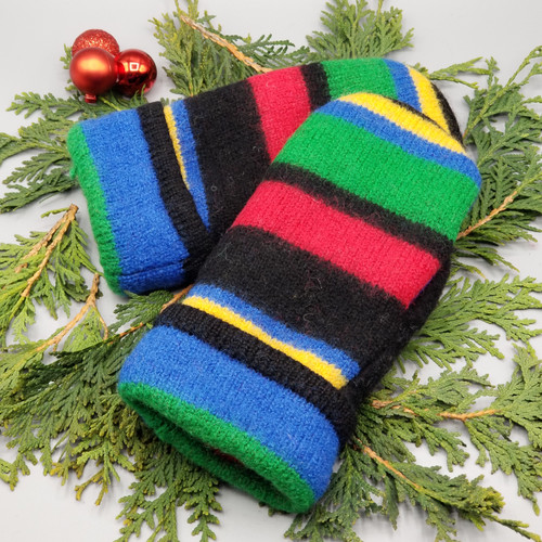 Recycled Wool Sweater Mittens, Felted & Fleece Lined, Royal Blue / Kelly Green / Red / Yellow Horizontal Stripes with Coordinating Cuff, Extra Small Size