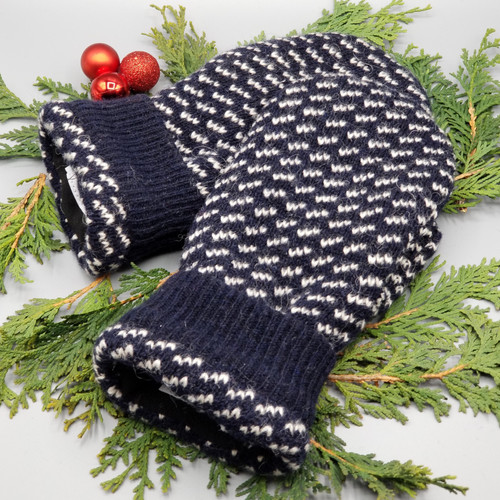 Recycled Wool Sweater Mittens, Felted & Fleece Lined, Navy with Cream Design with Coordinating Cuff, Extra Large Size
