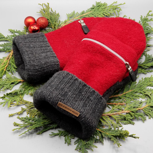 Recycled Wool Sweater Mittens, Felted & Fleece Lined, Boiled Wool Red with Working Zipper Pocket with Dark Charcoal Grey Cuff, Extra Large Size