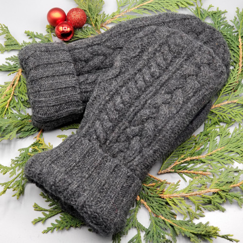 Recycled Wool Sweater Mittens, Felted & Fleece Lined, Dark Charcoal Cable Knit with Black and Dark Charcoal Ribbed Cuff, Extra Large Size