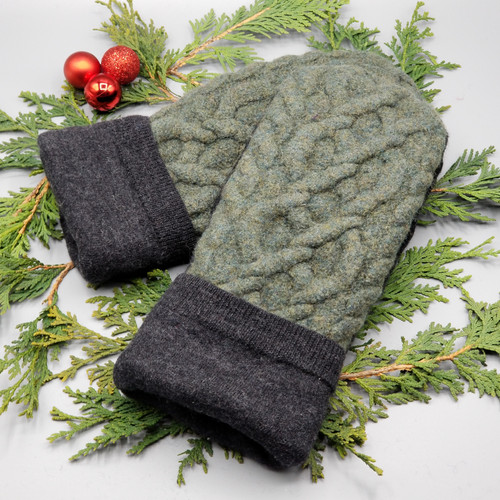 Recycled Wool Sweater Mittens, Felted & Fleece Lined, Olive Green Cable Knit with Dark Charcoal Cuff, Extra Large Size